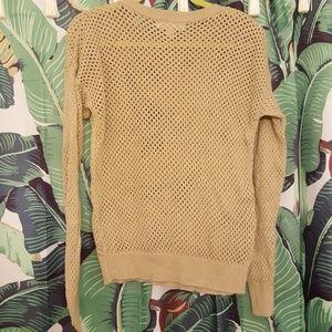 MICHAEL Michael Kors Sweaters - Michael Kors Tan LS Cotton Mesh Net Sweater